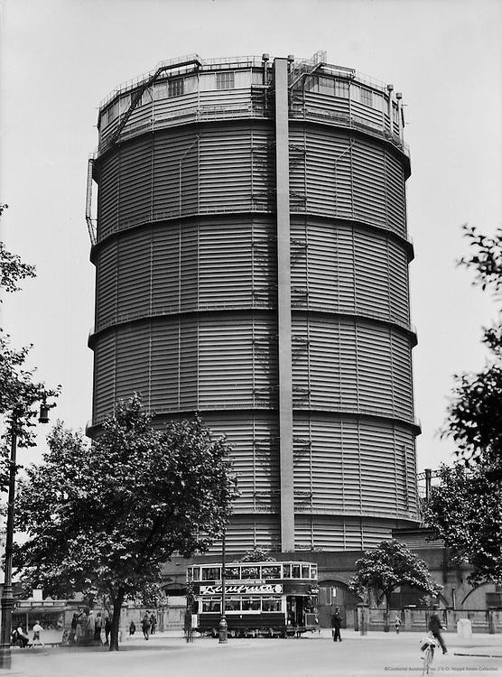Gasometer at Battersea, London, England, 1933