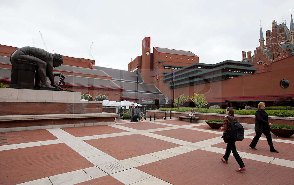 "© Licensed to London News Pictures. 22/05/2013. London, UK. The entrance to the British Library is seen on the day (22/05/2013) that acclaimed Beatles biographer Hunter Davies donated original song lyrics and letters, between himself and John Lennon, to the library under the ""lifetime giving"" scheme. Photo credit: Matt Cetti-Roberts/LNPPhoto credit: Matt Cetti-Roberts/LNP"