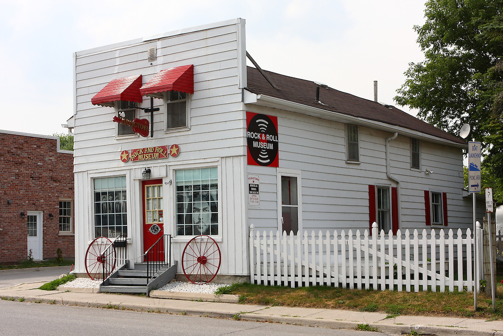 """Exterior of the Rock'n'roll Museum in Omemee, Ontario, Canada on July 20, 2011. From the museum's official web site: """"Youngtown Rock and Roll Museum began in 2007 and officially opened its doors to the public in the spring of 2008.  Although presently privately owned, the museum operates essentially as a non-profit venture staffed by volunteers and numerous supporters."""""""