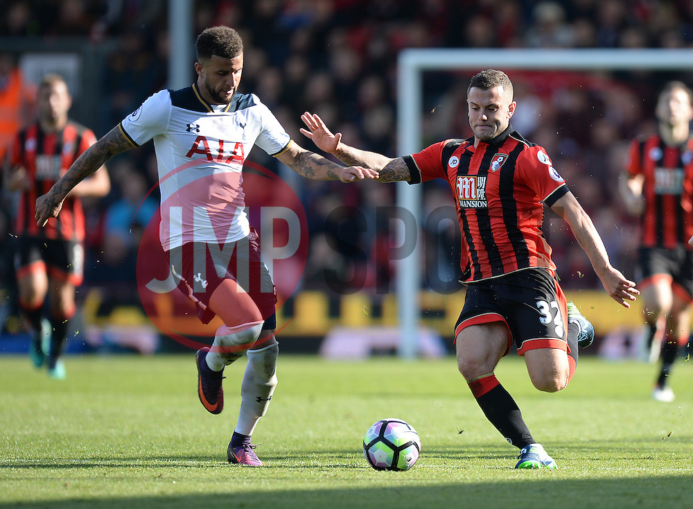 Jack Wilshere of Bournemouth under pressure from Kyle Walker of Tottenham Hotspur - Mandatory by-line: Alex James/JMP - 22/10/2016 - FOOTBALL - Vitality Stadium - Bournemouth, England - AFC Bournemouth v Tottenham Hotspur - Premier League