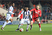 Scott Wagstaff, Stephane Sessegnon during the The FA Cup Third Round Replay match between Bristol City and West Bromwich Albion at Ashton Gate, Bristol, England on 19 January 2016. Photo by Daniel Youngs.