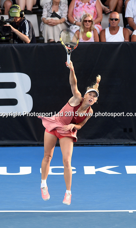 Denmark's Caroline Wozniacki throws her racquet during her second round singles match on Day 3 at the ASB Classic WTA International. Auckland, New Zealand. Wednesday 7 January 2015. Copyright photo: Andrew Cornaga/www.photosport.co.nz