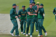 Notts celebrating during the Royal London 1 Day Cup match between Worcestershire County Cricket Club and Nottinghamshire County Cricket Club at New Road, Worcester, United Kingdom on 27 April 2017. Photo by Simon Trafford.