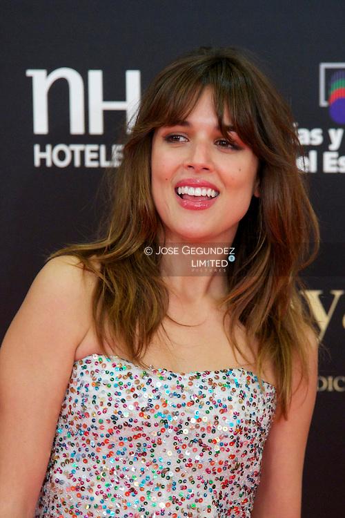 Adriana Ugarte arrives to Goya Cinema Awards 2013 ceremony, at Auditorium Hotel on February 17, 2013 in Madrid, Spain