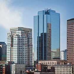 Boston skyscrapers in financial district featuring the 75 and 53 State Street buildings. Massachusetts USA.Architect of 75 State Street: Skidmore, Owings & Merrill LLP .Architect of 53 State Street: WZMH Architects