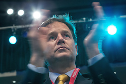© Licensed to London News Pictures . 07/10/2014 . Glasgow , UK . Deputy Prime Minister and party leader , NICK CLEGG , applauds at the conference . The Liberal Democrat Party Conference 2014 at the Scottish Exhibition and Conference Centre in Glasgow . Photo credit : Joel Goodman/LNP