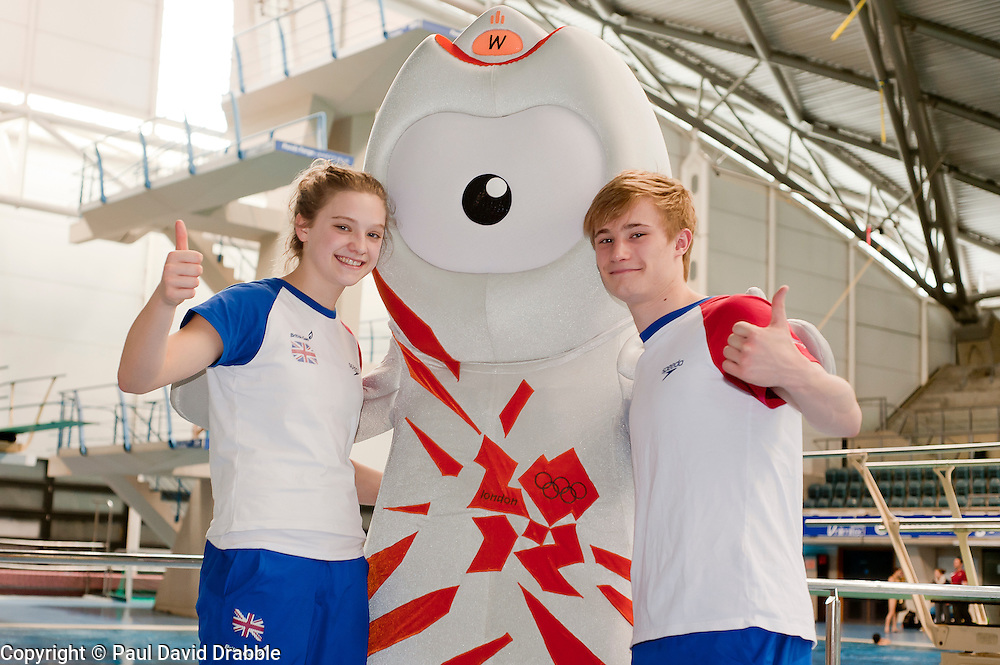 The two youngest Junior Team GB Divers Alicia Blagg (14) and Jack Laugher with Wenlock London 2012 Mascot beside the diving pool at Ponds Forge Sheffield..12 April 2011.Images © Paul David Drabble
