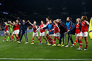 Vivianne Miedema, Beth Mead, Manuela Zinsberger, Emma Mitchell, Leonie Maier, Danielle Van De Donk, Katie McCabe and other Arsenal players celebrate after the FA Women's Super League match between Tottenham Hotspur Women and Arsenal Women FC at Tottenham Hotspur Stadium, London, United Kingdom on 17 November 2019.