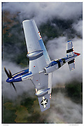P-51D in acrobatic flight, aerial