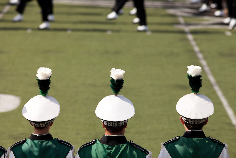 The Ohio University Marching Band performs before the start of the homecoming football game on homecoming weekend on Saturday, October 13, 2012..Photo by Chris Franz