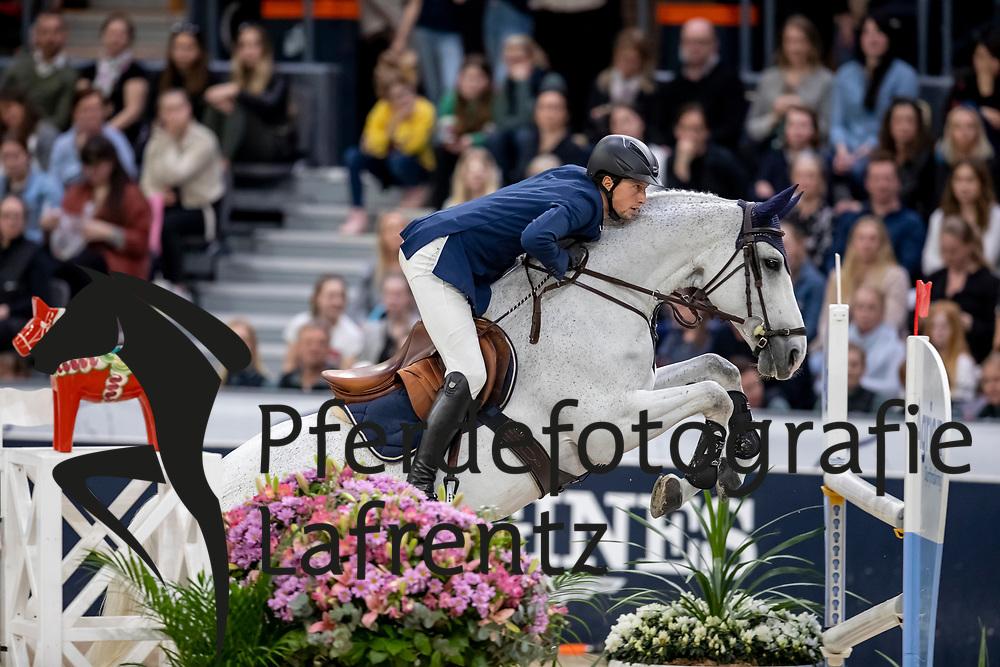 FUCHS Martin (SUI), Clooney 51<br /> Göteborg - Gothenburg Horse Show 2019 <br /> Longines FEI World Cup™ Final II<br /> Int. jumping competition with jump-off (1.50 - 1.60 m)<br /> Longines FEI Jumping World Cup™ Final and FEI Dressage World Cup™ Final<br /> 05. April 2019<br /> © www.sportfotos-lafrentz.de/Stefan Lafrentz