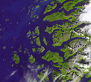 The Arctic Circle cuts through the western coast of Norway and the Saltfjellet-Svartisen National Park. This area features many glacial fjords, alpine mountain formations with glacier tongues, as well as gently sloping mountain plateaus and forested lowland valleys. The largest city here is Mo I Rana, (just off the image to the east) with a population of 25,000 (26th most populous city in Norway).