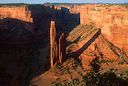ARIZONA, CANYON DE CHELLY NAT. PK. Spider Rock, 800' high pinnacle atop which Spider Woman lives in Navajo legend, Navajo Reservation