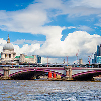 London skyline including Blackfriars Bridge, St Paul's Cathedral and the skyscrapers of the City