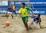 09 December 2006, Brazils Benjamin da Silva beats Frances Jairzinho Cardosa during their game at the Vodacom Pro Beach Soccer Tour in Durban's Bay of Plenty on Saturday. Brazil won the game 9-5. Picture: Shayne Robinson, PhotoWire Africa