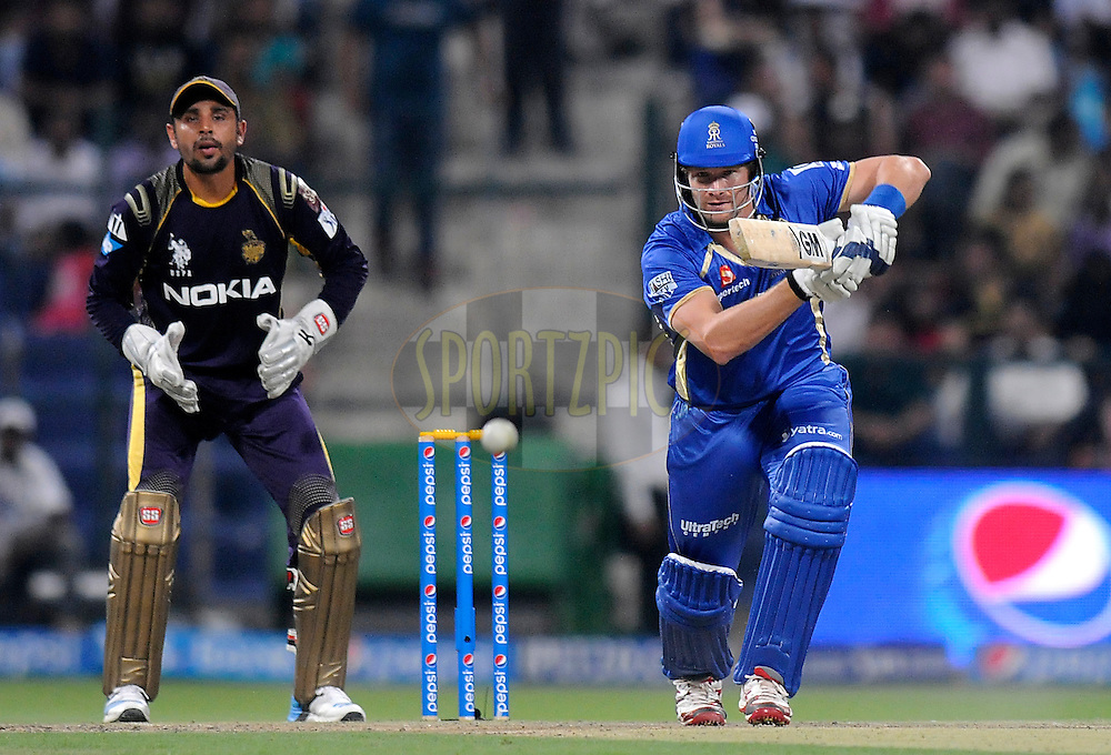 Shane Watson captain of the Rajatshan Royals bats during match 19 of the Pepsi Indian Premier League 2014 Season between The Kolkata Knight Riders and the Rajasthan Royals held at the Sheikh Zayed Stadium, Abu Dhabi, United Arab Emirates on the 29th April 2014<br /> <br /> Photo by Pal Pillai / IPL / SPORTZPICS