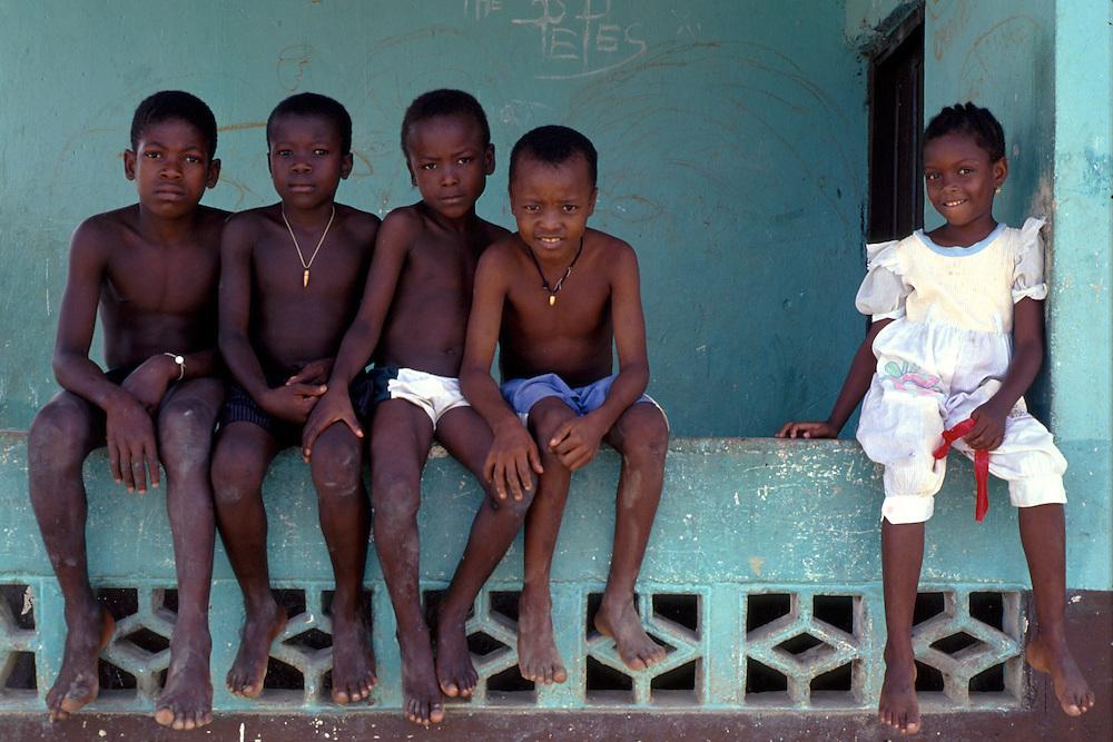 A girl and four boys, Quibdo, in El Choco region of Colombia.