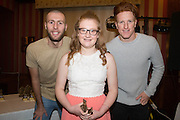 Hollie Burgess, Monifieth Ladies Fire under 13s most improved player pictured with Dundee United's Lewis Toshney and Simon Murray at Monifieth Ladies presentation evening at the Panmure Hotel, Monifieth - Photo: David Young, <br /> <br />  - &copy; David Young - www.davidyoungphoto.co.uk - email: davidyoungphoto@gmail.com