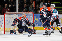 KELOWNA, CANADA, FEBRUARY 11: Cole Cheveldave #38 of the Kamloops Blazers makes a save as the Kamloops Blazers visit the Kelowna Rockets on February 11, 2012 at Prospera Place in Kelowna, British Columbia, Canada (Photo by Marissa Baecker/www.shootthebreeze.ca) *** Local Caption ***