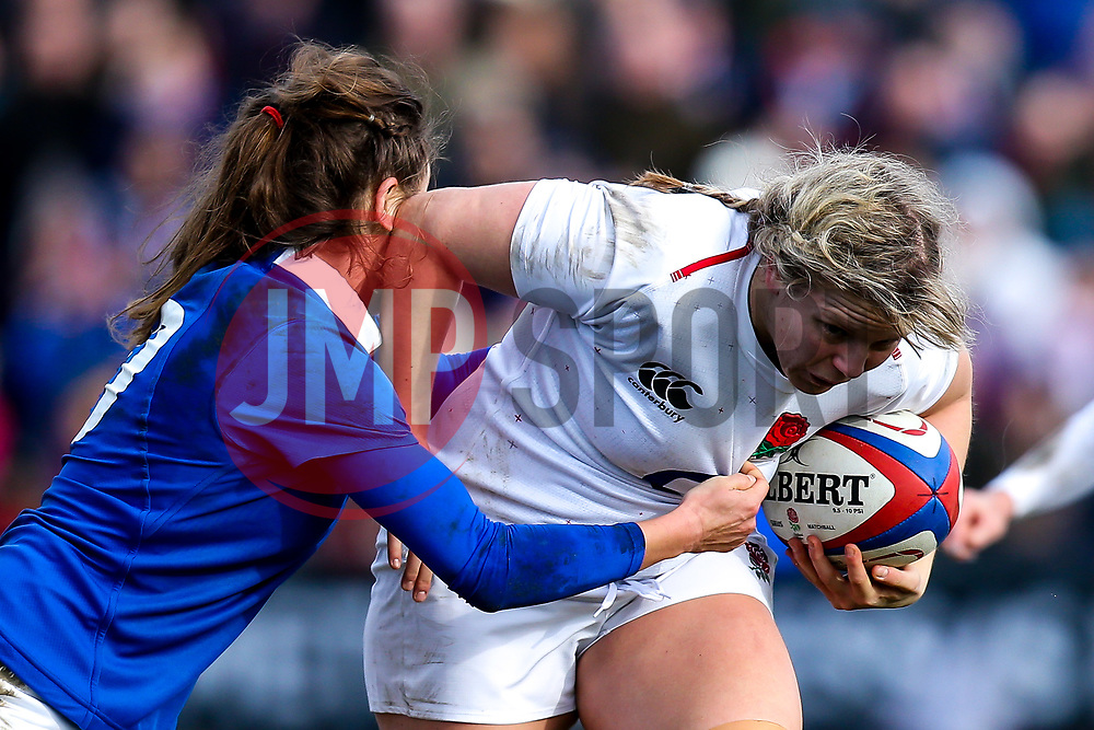 Vickii Cornborough of England Women is tackled - Mandatory by-line: Robbie Stephenson/JMP - 10/02/2019 - RUGBY - Castle Park - Doncaster, England - England Women v France Women - Women's Six Nations