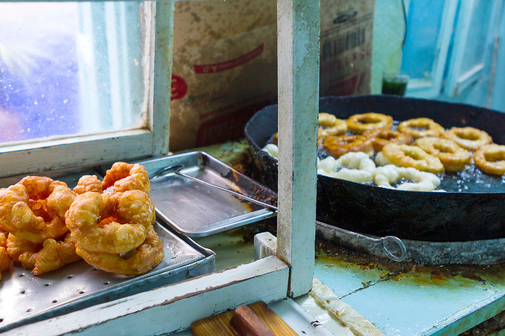 Sfenj, the  Moroccan take on a doughnut, Chefchaouen Medina - the blue city, Rif region of Northern Morocco, 2014-03-30.