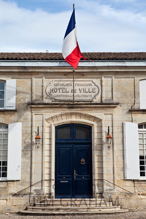 French flag at Town Hall, Hotel de Ville, in St Emilion, Bordeaux, France