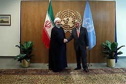 United Nations Secretary-General Antonio Guterres (R) meets with Iranian President Hassan Rouhani during a bilateral meeting at the United Nations on September 18, 2017 in New York City, NY, USA. Photo by Parspix/ABACAPRESS.COM