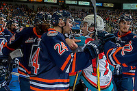 KELOWNA, CANADA - JANUARY 7: Jermaine Loewen #32 and Luc Smith #24 of the Kamloops Blazers get in the face of Rodney Southam #17 of the Kelowna Rockets on January 7, 2017 at Prospera Place in Kelowna, British Columbia, Canada.  (Photo by Marissa Baecker/Shoot the Breeze)  *** Local Caption ***
