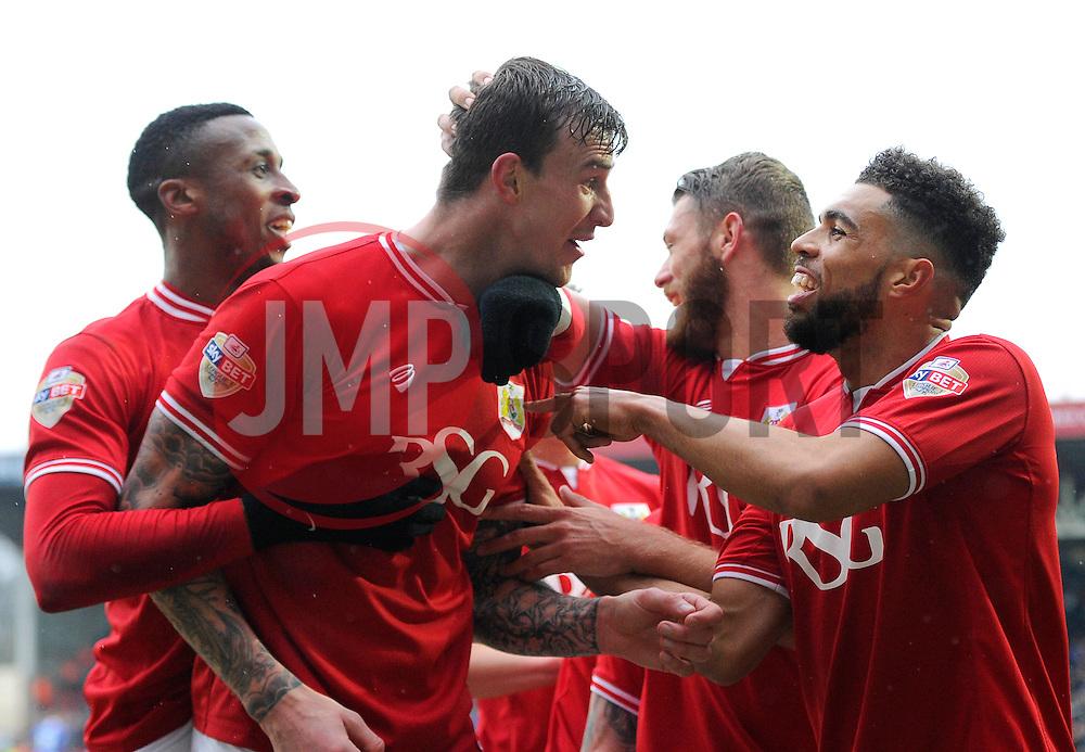 Aden Flint of Bristol City celebrates his first goal of the game with team mates  - Mandatory byline: Joe Meredith/JMP - 13/02/2016 - FOOTBALL - Ashton Gate - Bristol, England - Bristol City v Ipswich Town - Sky Bet Championship