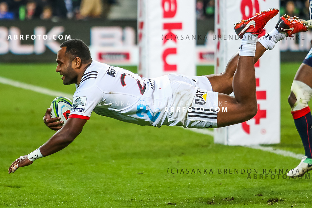 Manasa Mataele dives in for a try during Rebels v Crusaders, 2018 Super Rugby season, AAMI Park, Melbourne, Australia. 4 May 2018. Copyright Image: Brendon Ratnayake / www.photosport.nz