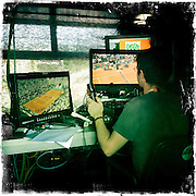 Roland Garros. Paris, France. May 27th 2012.Inside a TV booth.Dans une cabine tele.