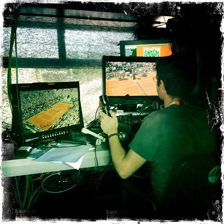 Roland Garros. Paris, France. May 27th 2012.Inside a TV booth.Dans une cabine tele.