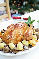Christmas Turkey on table close up