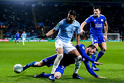 Riyad Mahrez of Manchester City takes on Christian Fuchs of Leicester City - Mandatory by-line: Robbie Stephenson/JMP - 18/12/2018 - FOOTBALL - King Power Stadium - Leicester, England - Leicester City v Manchester City - Carabao Cup Quarter Finals