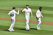 Wicket - Morne Morkel of Surrey celebrates taking the wicket of Dale Steyn of Hampshire during the Specsavers County Champ Div 1 match between Hampshire County Cricket Club and Surrey County Cricket Club at the Ageas Bowl, Southampton, United Kingdom on 11 June 2018. Picture by Graham Hunt.