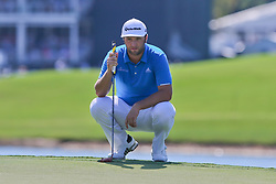 September 21, 2018 - Atlanta, Georgia, United States - Jon Rahm lines up a putt on the 8th green during the second round of the 2018 TOUR Championship. (Credit Image: © Debby Wong/ZUMA Wire)
