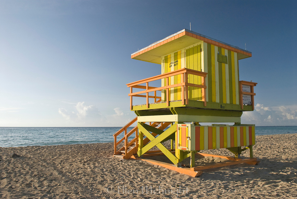 Colorful Lifeguard Hut at Sunrise in Miami Beach, Florida