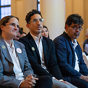 SEPTEMBER 26, 2017---MIAMI, FLORIDA---<br /> Panel members, from left; Lorena Z&aacute;rate, Alejandro Haiek and Jorge Perez Jaramillo during presentation. This was part of the Miami Dade College series, By the People.<br /> (Photo by Angel Valentin/Freelance).