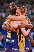 Sunshine Coast LIghtning players celebrate.<br /> PERTH, AUSTRALIA - AUGUST 26: West Coast Fever vs the Sunshine Coast Lightning during the Suncorp Super Netball Grand Final match from Perth Arena - Sunday 26th August 2018 in Perth, Australia. (Photo by Daniel Carson/dcimages.org/Netball WA)
