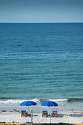 "Redington Beach, Florida, USA., Friday, 27.09.19  Looking over the Beach, Sun Loungers and ""Blue Umbrellas"",<br /> <br /> [Mandatory Credit; Pete SPURRIER]"