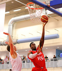 Bristol Flyers' Alif Bland scores a basket  - Photo mandatory by-line: Joe Meredith/JMP - Mobile: 07966 386802 - 18/04/2015 - SPORT - Basketball - Bristol - SGS Wise Campus - Bristol Flyers v Leeds Force - British Basketball League