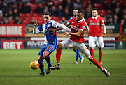 Blackburn Rovers midfielder, Corry Evans (29) screening the ball from Charlton Athletic midfielder, Jordan Cousins (8) during the Sky Bet Championship match between Charlton Athletic and Blackburn Rovers at The Valley, London, England on 23 January 2016. Photo by Matthew Redman.