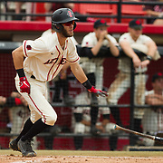 15 April 2018: San Diego State infielder David Hensley (22) reaches base on a single in the bottom of the first against Fullerton. The San Diego State baseball team closed out the weekend series against Cal State Fullerton with a 9-6 win at Tony Gwynn Stadium. <br /> More game action at sdsuaztecphotos.com