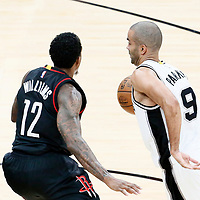 01 May 2017: San Antonio Spurs guard Tony Parker (9) drives past Houston Rockets guard Lou Williams (12) during the Houston Rockets 126-99 victory over the San Antonio Spurs, in game 1 of the Western Conference Semi Finals, at the AT&T Center, San Antonio, Texas, USA.