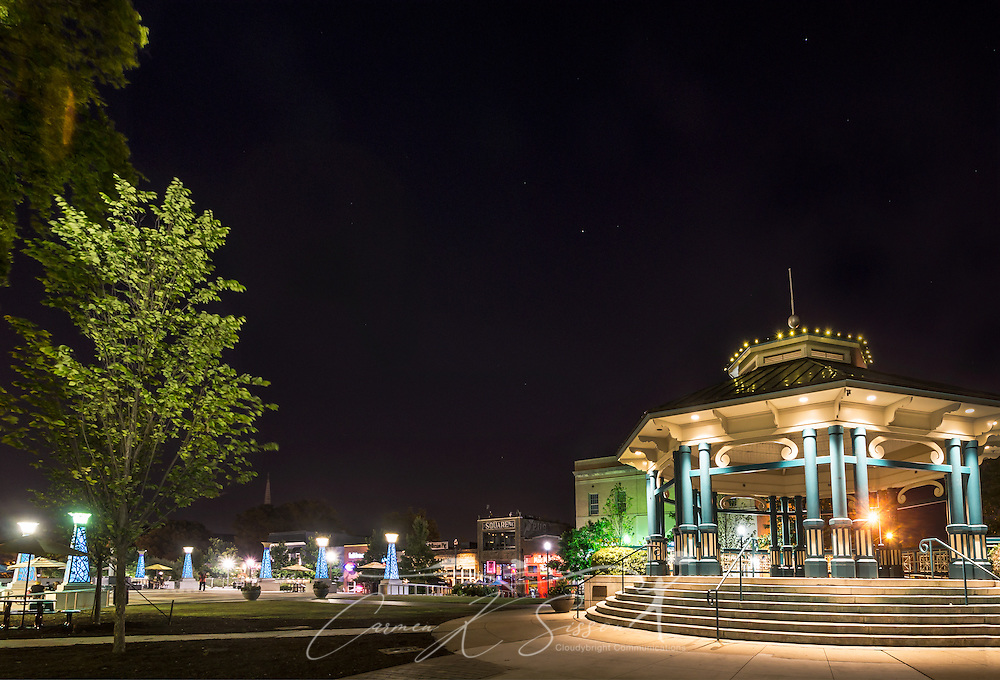 Decatur Square's gazebo and bandstand is pictured at night, June 4, 2014, in Decatur, Georgia. Decatur had a population of 19,335 at the 2010 Census and is a suburb of Atlanta. (Photo by Carmen K. Sisson/Cloudybright)