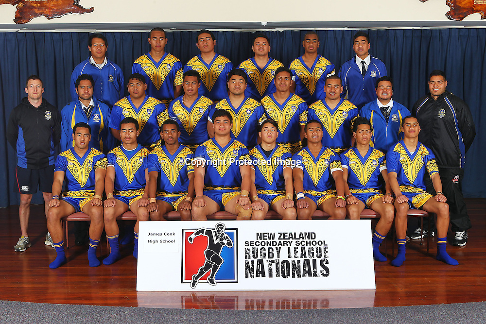 Secondary Schools Rugby League Nationals - James Cook High School Team Photo, Bruce Pulman Park, Auckland. 3 September 2012. Photo: William Booth/photosport.co.nz