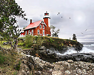 The Beautiful Eagle Harbor Lighthouse On A Cold And Windy Autumn Day, Upper Peninsula, Michigan, USA