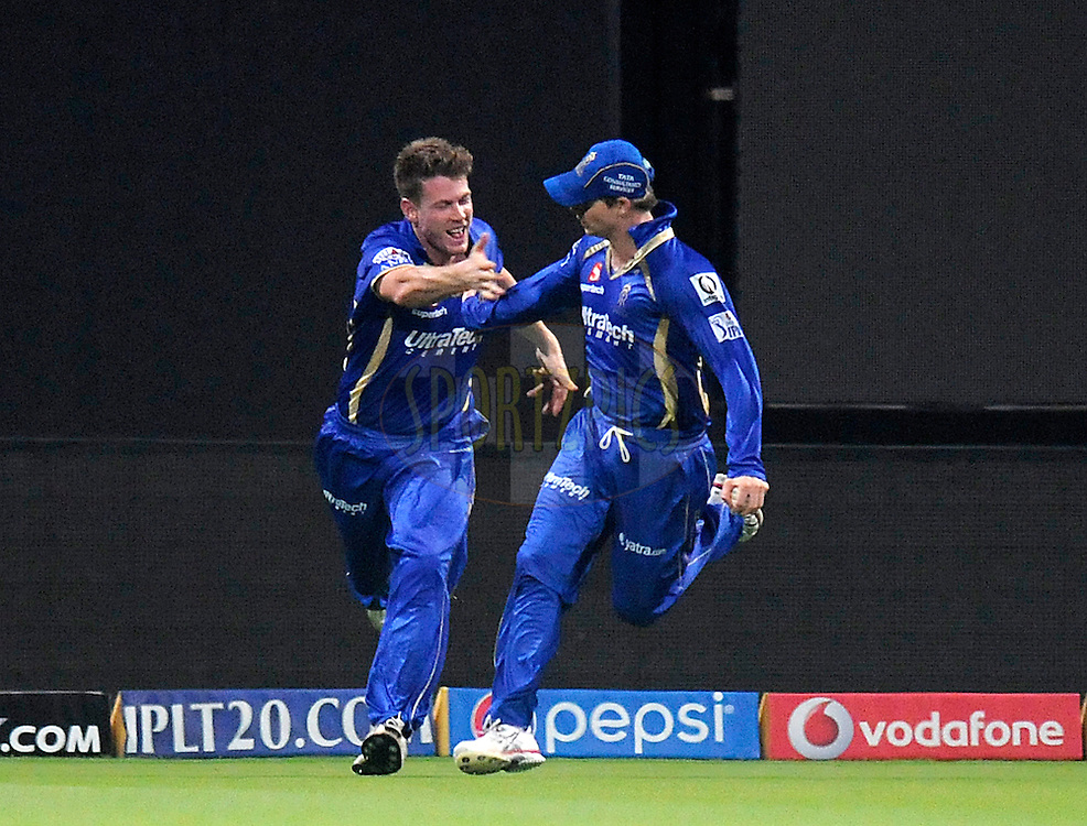 Steven Smith of the Rajatshan Royals celebrates after taking a catch to get the wicket of Jacques Kallis of the Kolkata Knight Riders during match 19 of the Pepsi Indian Premier League 2014 Season between The Kolkata Knight Riders and the Rajasthan Royals held at the Sheikh Zayed Stadium, Abu Dhabi, United Arab Emirates on the 29th April 2014<br /> <br /> Photo by Pal Pillai / IPL / SPORTZPICS