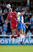 Photo: Jed Wee/Sportsbeat Images.<br /> Hartlepool United v Swindon Town. Coca Cola League 1. 15/09/2007.<br /> <br /> Swindon's Christian Roberts (L) jumps to beat Hartlepool's Ali Gibb.