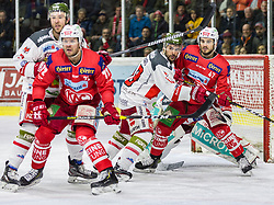 22.03.2019, Stadthalle, Klagenfurt, AUT, EBEL, EC KAC vs HCB Suedtirol Alperia, Viertelfinale, 5. Spiel, im Bild Siim LIIVIK (EC KAC, #72), Paul GEIGER (HCB Suedtirol Alperia, #3), Stefano MARCHETTI (HCB Suedtirol Alperia, #23), Jacob SMITH (HCB Suedtirol Alperia, #1) // during the Erste Bank Icehockey 5th quarterfinal match between EC KAC and HCB Suedtirol Alperia at the Stadthalle in Klagenfurt, Austria on 2019/03/22. EXPA Pictures © 2019, PhotoCredit: EXPA/ Gert Steinthaler